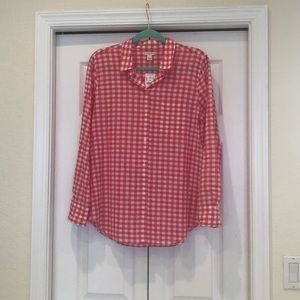NWT J Crew Pink and White Gingham Camp Shirt